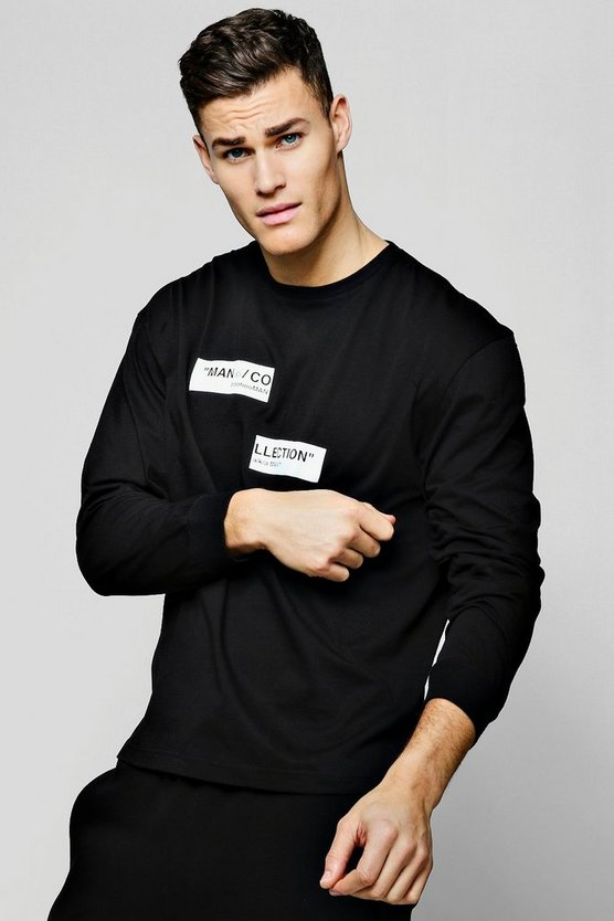 Black MAN Collection Spliced Box Oversized T-Shirt