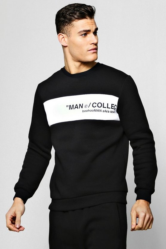 Black MAN Collection Contrast Panel Sweater