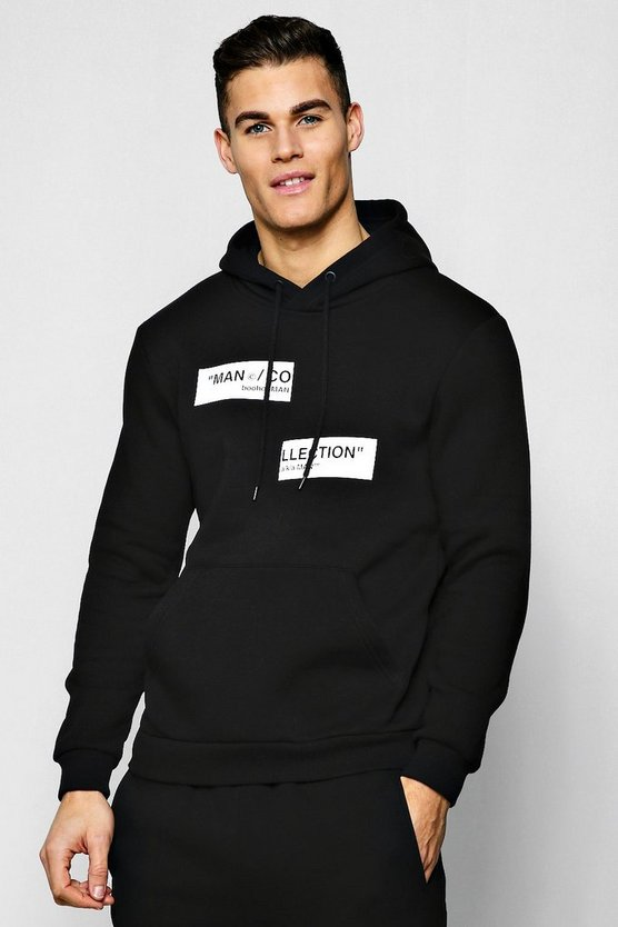Black MAN Collection Spliced Box Hoodie