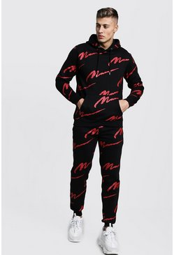 Mens Black All Over Red MAN Print Hooded Tracksuit