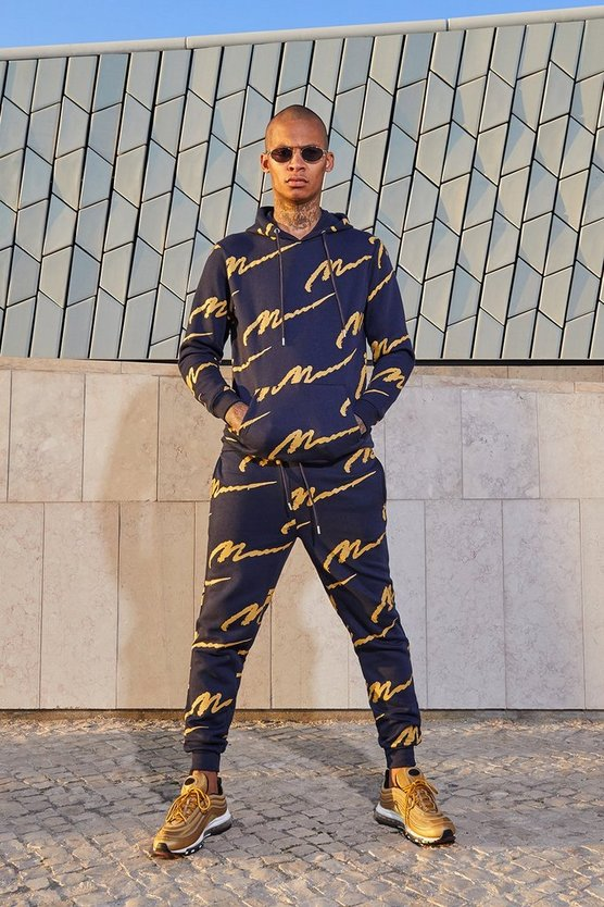 All Over MAN Printed Hooded Tracksuit