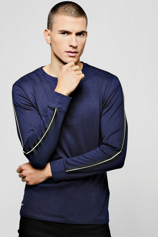 Navy Cuffed Long Sleeve T-Shirt With Side Tape