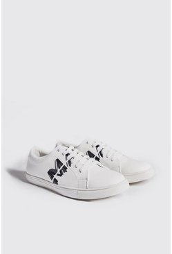 Mens White Faux Leather Man Sneaker
