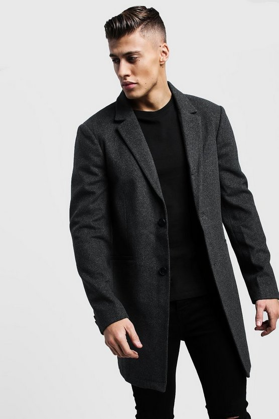 Charcoal Single Breasted Wool Look Overcoat