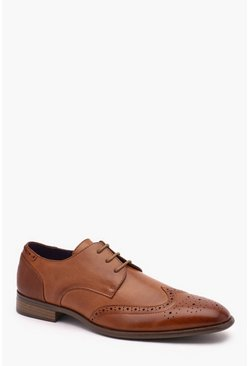 Mens Tan Faux Leather Brogue