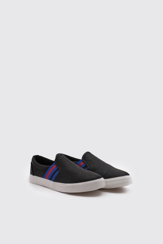 Black Faux Leather Stripe Tape Slip On Trainer
