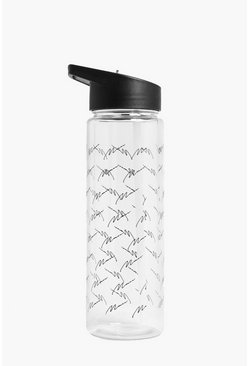 Mens Black MAN Repeat Logo Water Bottle