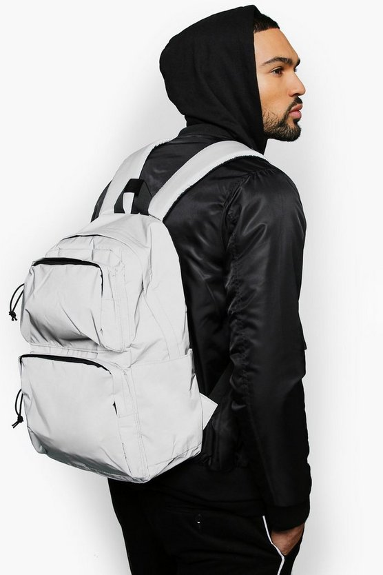 Mens Grey Reflective Multi Pocket Utility Rucksack