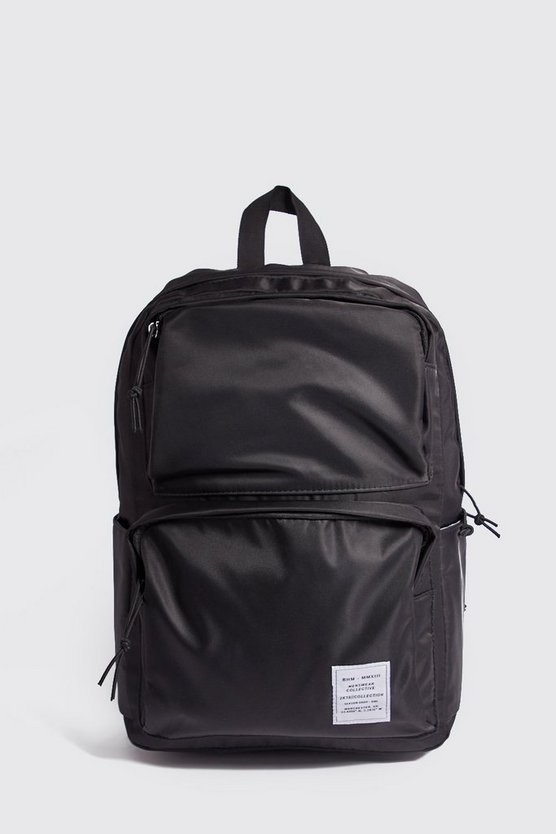 Mens Black Multi Pocket Utility Rucksack