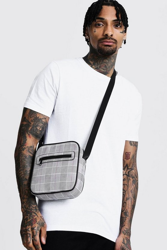 Mens Grey Check Faux Leather Cross Body Bag