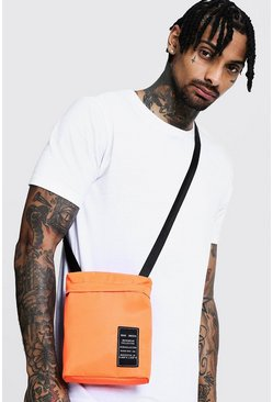 Mens Orange Nylon Cross Body Bag with MAN Patch