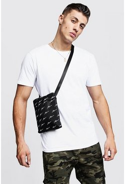 Mens Black MAN Script Nylon Cross Body Bag