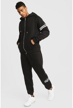 Mens Black Zip Through MAN Tracksuit With Contrast Stripe