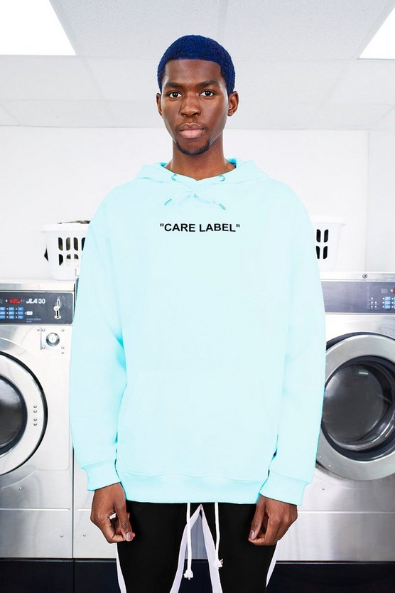 Aqua MAN Care Label Oversized Back Print Hoodie