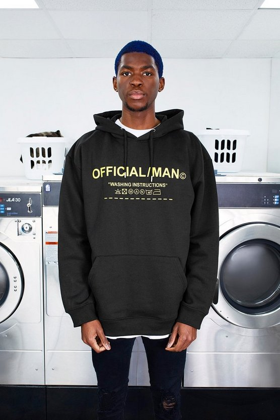 Black MAN Care Label Oversized Hoodie With Hood Print