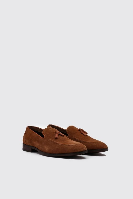 Mens Tan Real Suede Tassel Detail Loafer
