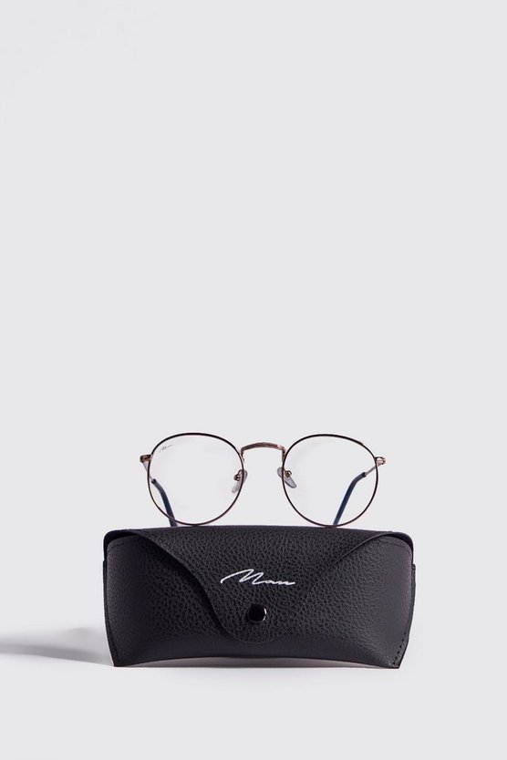 MAN Branded Round Fashion Glasses With Case