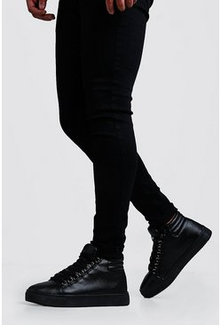 Mens Black Eyelet Detail High Top In Faux Leather