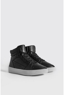 Mens Black Embossed Sporty Faux Leather High Top