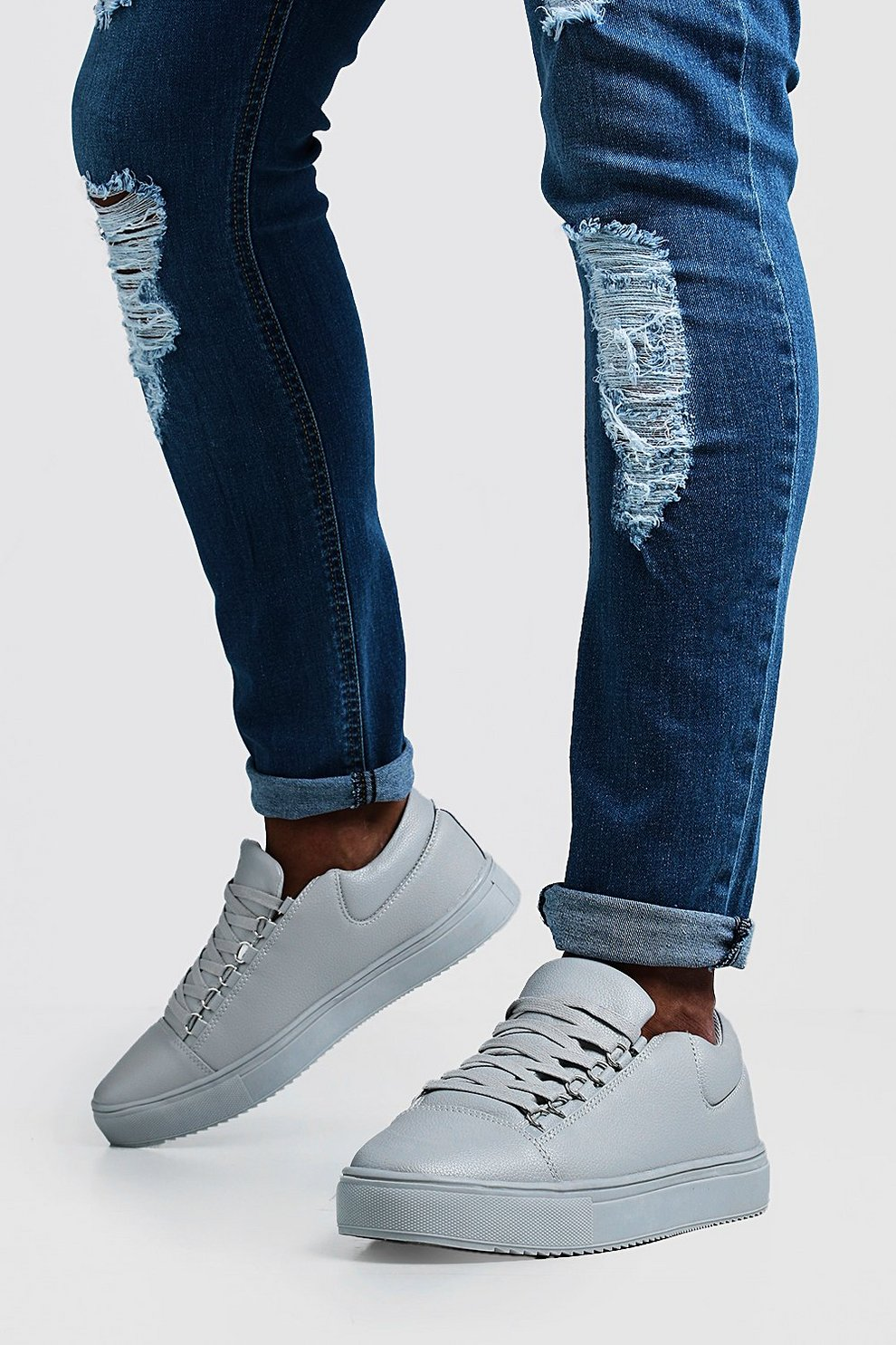 732c9b30d8a9 Eyelet Detail Faux Leather Trainer - boohooMAN