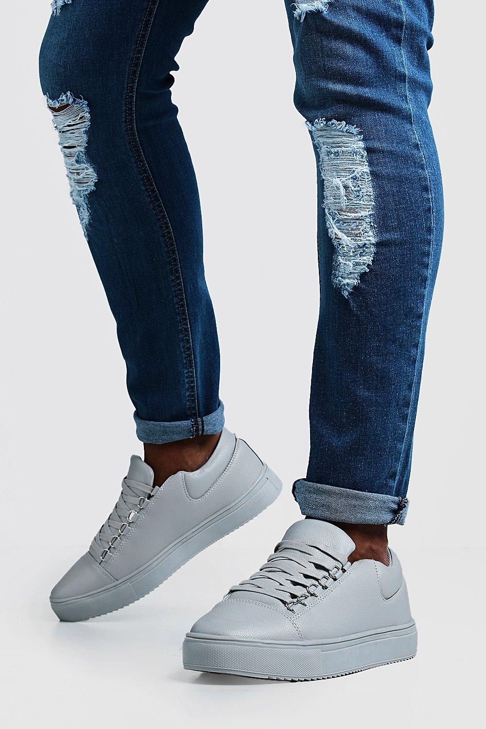 e52d1eca91f8 Eyelet Detail Faux Leather Trainer - boohooMAN