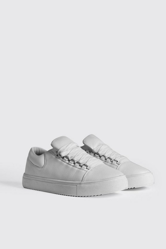 Eyelet Detail Faux Leather Trainer