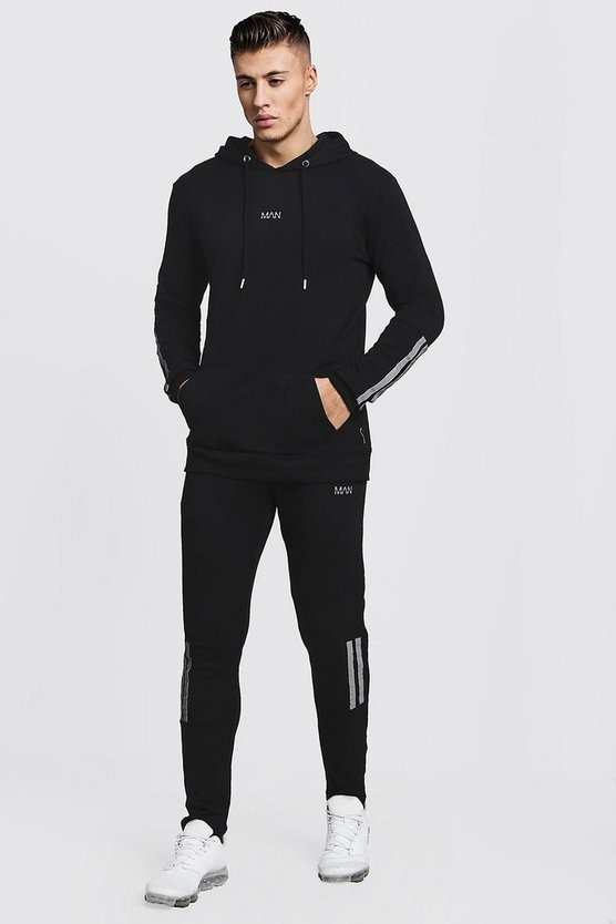 Mens Black Muscle Fit OTH Hooded Tape Detail Tracksuit