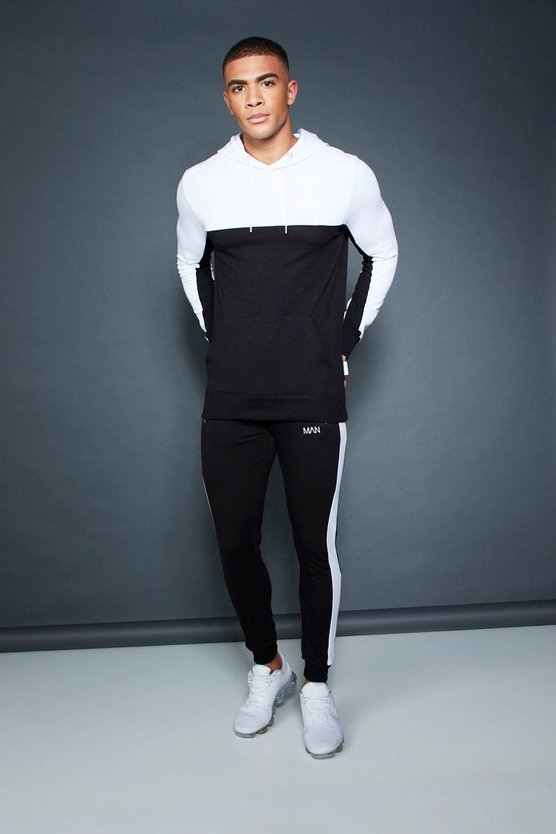 Muscle Fit Hooded Colour Block Tracksuit