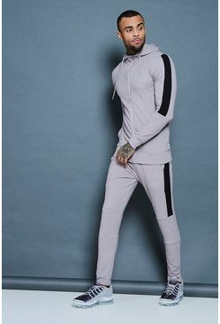 Mens Ash Muscle Fit Zip Through Hooded Tracksuit