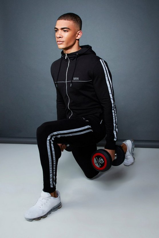 Black Muscle Fit Zip Through Hooded Tracksuit