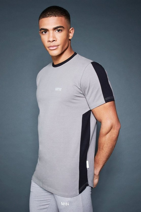 Longline T-Shirt With Contrast Side Panel, Ash, HERREN