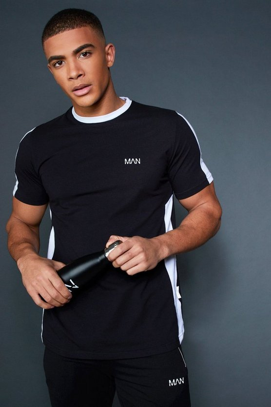 Longline T-Shirt With Contrast Side Panel