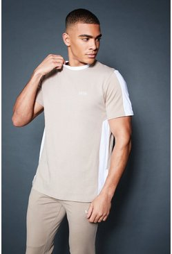 Longline T-Shirt With Contrast Side Panel, Taupe, HOMMES