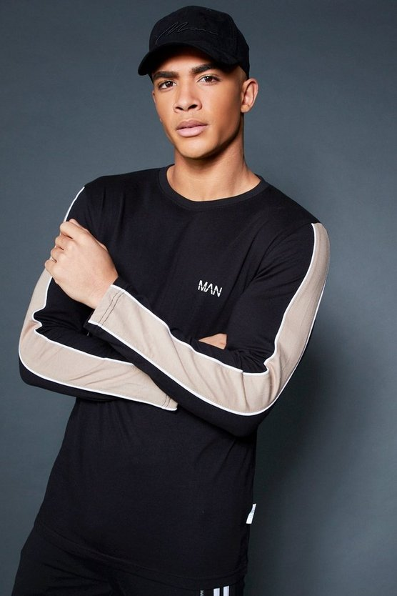 Black Long Sleeve T-Shirt With Sleeve Tape