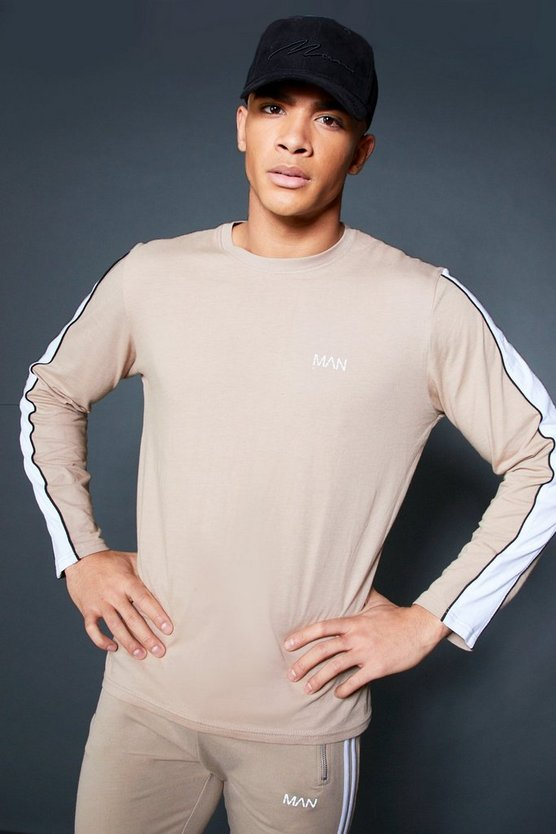 Long Sleeve T-Shirt With Sleeve Tape, Taupe, HERREN
