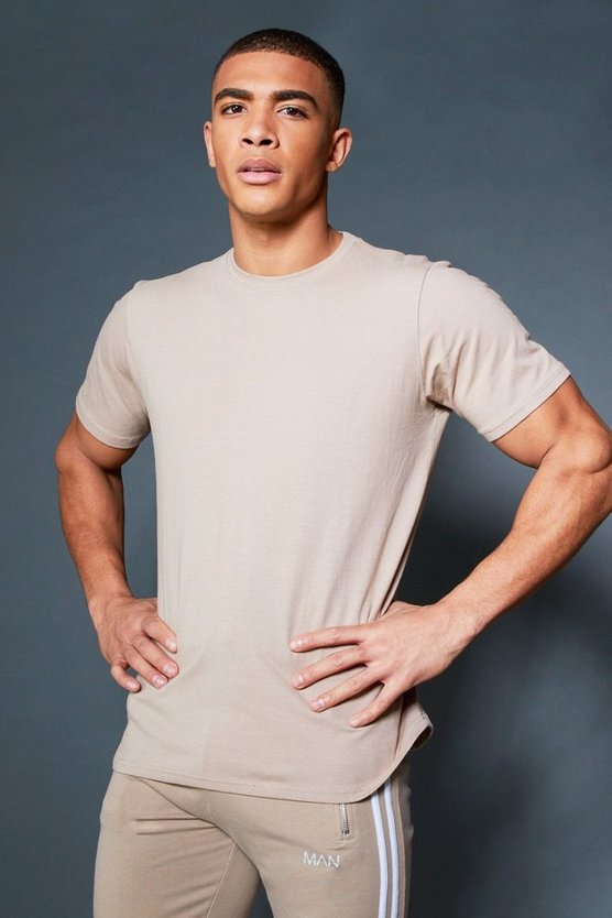 Taupe Curved Hem T-Shirt With Contrast Back Tape