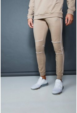 Mens Taupe Muscle Fit Jogger With Piping Detail