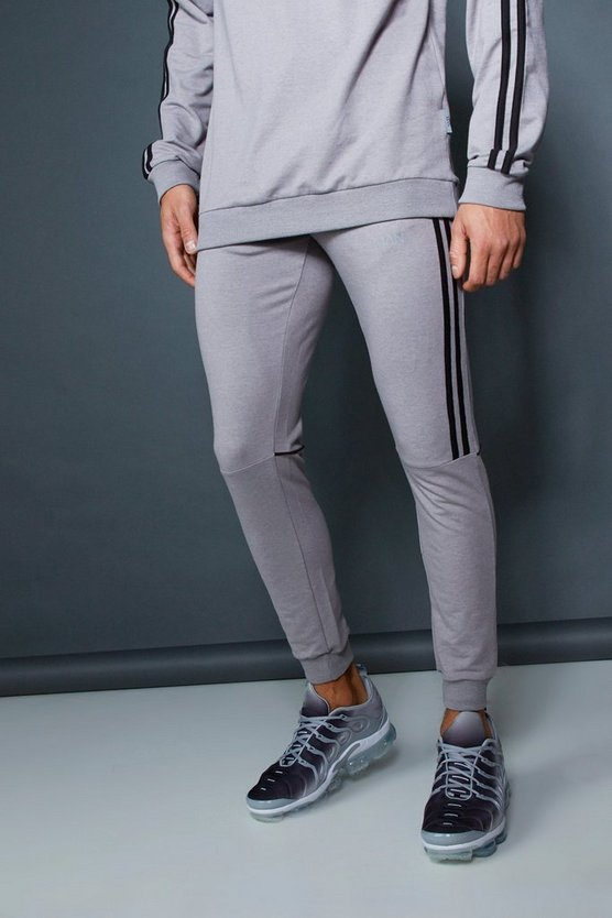 Mens Ash Muscle Fit Jogger With Contrast Side Tape