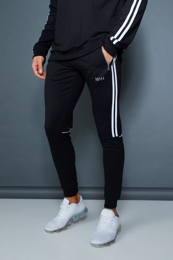 Mens Black Muscle Fit Jogger With Contrast Side Tape