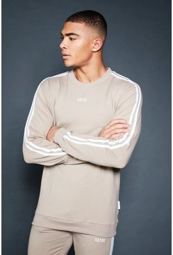 Mens Taupe Crew Sweater With Sleeve Sports Tape