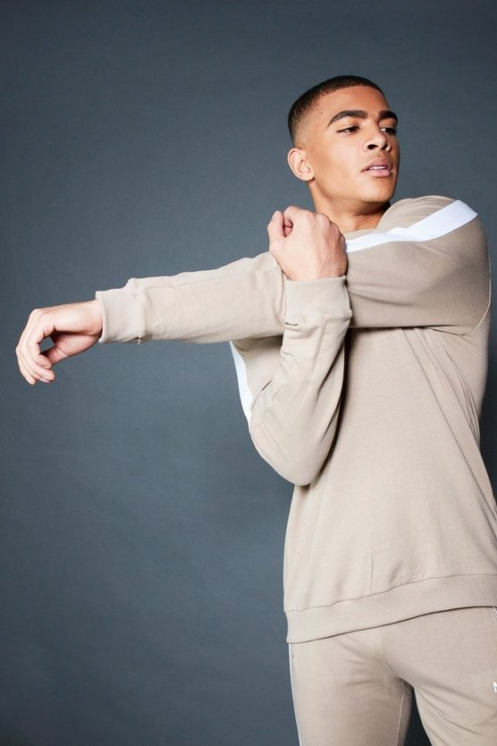 Taupe Crew Sweater With Contrast Sleeve Panel