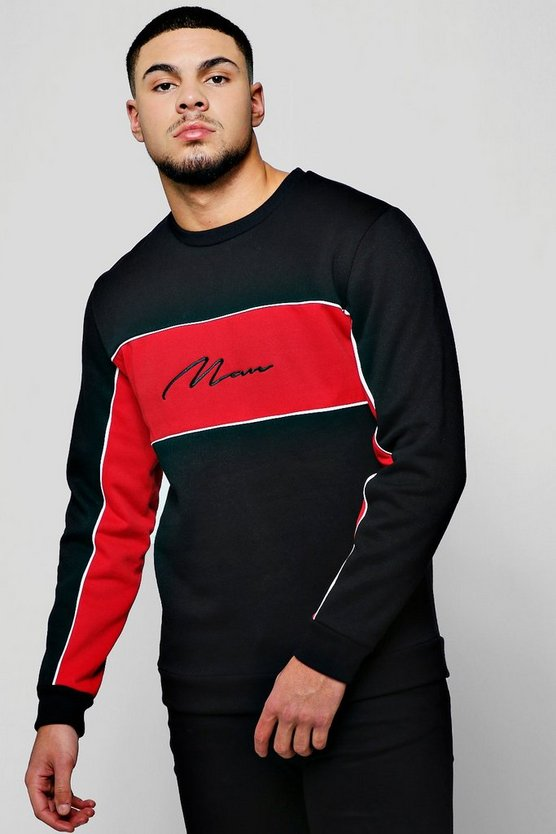 Black MAN Signature Contrast Panelled Sweater