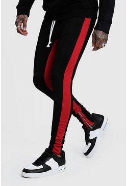 Mens Black Tricot Skinny Red Side Panel Joggers
