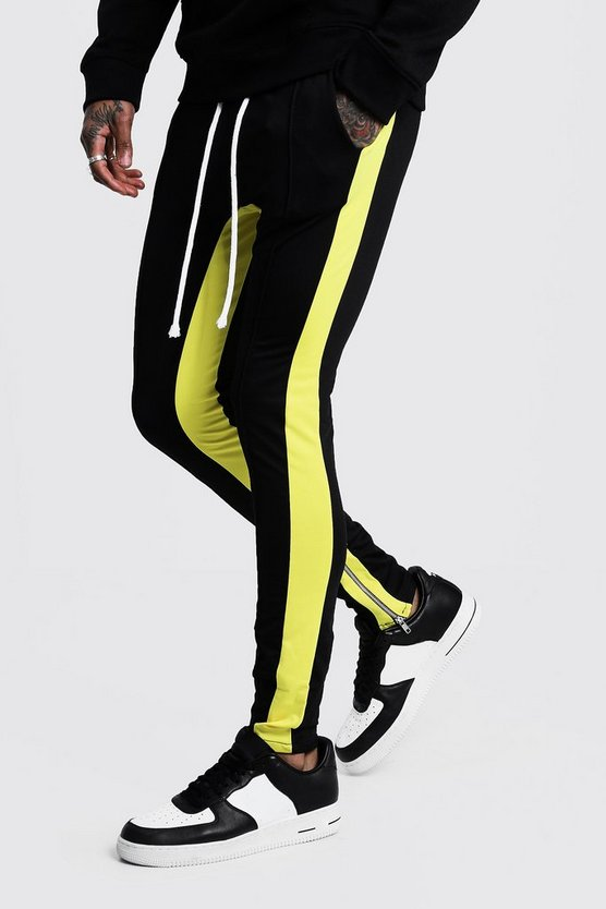 Black Tricot MAN Skinny Yellow Side Panel Joggers