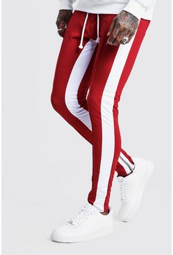 Mens Red Tricot MAN Skinny Joggers With Side Panel