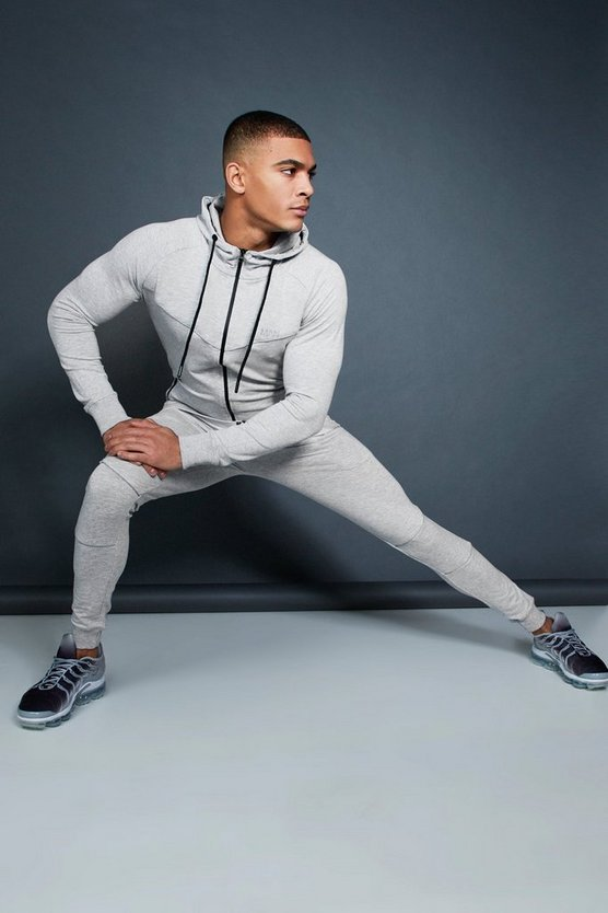 Grey Active Zip Through Hooded Skinny Tracksuit