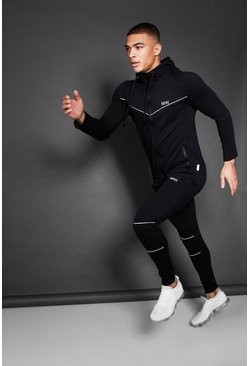 Active Zip Through Hooded Skinny Tracksuit, Black, HOMMES