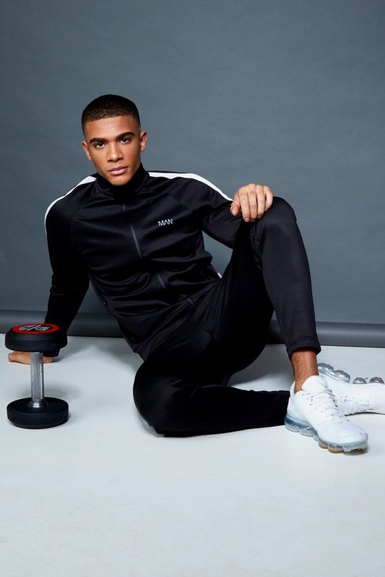Black Active Track Top Skinny Fit Tracksuit