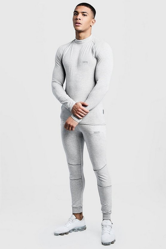 Grey Active Funnel T-Shirt Skinny Fit Tracksuit