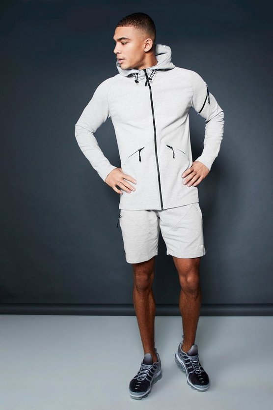 Grey Active Zip Through Hooded Short Tracksuit